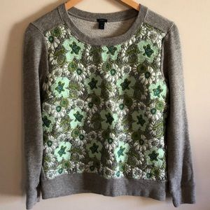 J. Crew Embroidered Floral Sweatshirt Sz XS
